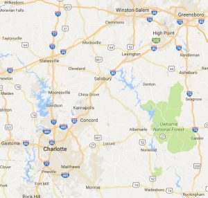 image shows map of Charlotte NC area where Porch Conversion of Charlotte installs sunrooms