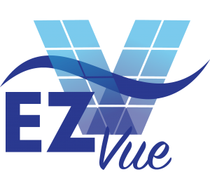 image shows EZVue logo for 4Track Vertical Sliding Vinyl Windows