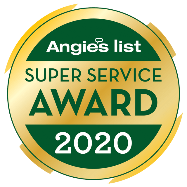 image shows Angie's List Super Service Award 2020 logo for excellence in porch conversions and sunrooms by Porch Conversion of Charlotte, NC