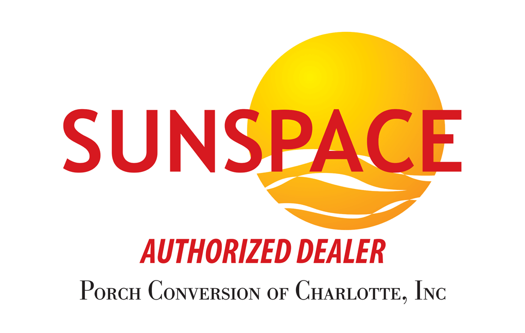 image shows Sunspace Sunrooms Authorized Dealer logo on Porch Conversion of Charlotte website for sunrooms, porch conversions, screen rooms and patio enclosures